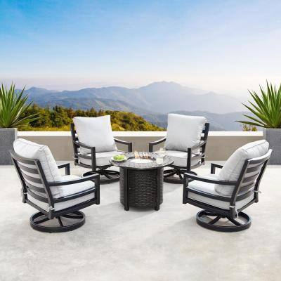 Hudson Luxurious Antique Copper 5-Piece Aluminum Patio Fire Pit Deep Seating Set with Light Grey Cushions