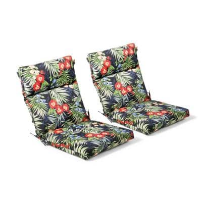 21.5 in. x 44 in. x 4 in. Caprice Tropical Outdoor Highback Dining Chair (2 Pack)