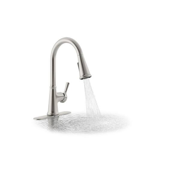 Kohler Tyne Single Handle Pull Down Sprayer Kitchen Faucet In Vibrant Stainless K R21415 Vs The Home Depot