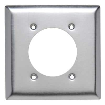Pass & Seymour 302/304 S/S 2 Gang 1 Single Power Outlet 2.281-in. Hole Wall Plate, Stainless Steel (1-Pack)