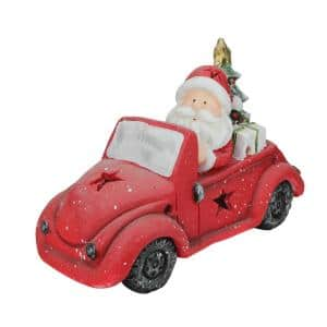 10 in. Santa Claus Driving Vintage Beetle with a Christmas Tree Table Top Decoration