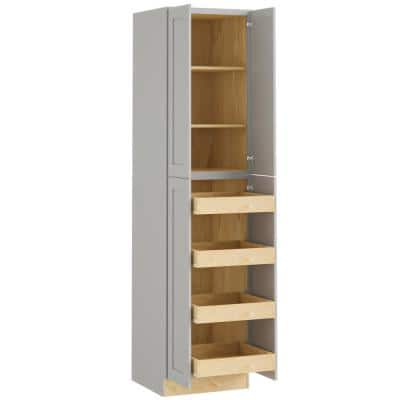 Tremont Assembled 24x90x24 in. Plywood Shaker Utility Kitchen Cabinet Soft Close 4 rollouts in Painted Pearl Gray