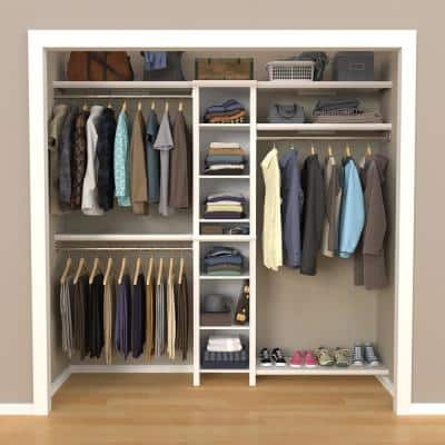 Impressions Basic 48 in. W - 112 in. W White Wood Closet System