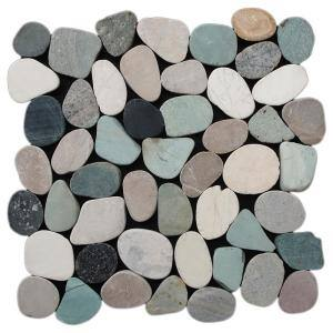 Sliced Pebble Tile Black/Green/Tan 11-1/2 in. x 11-1/2 in. x 9.5mm Honed Pebble Mosaic Tile (10.12 sq. ft. / case)