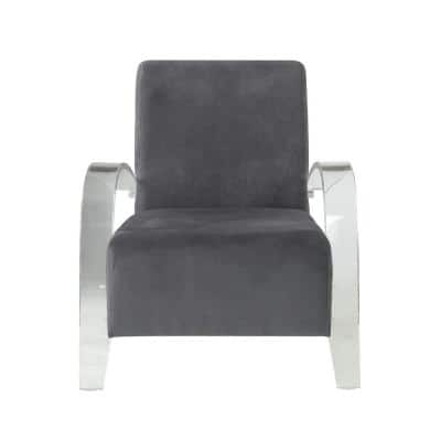 Malyssa Charcoal and Clear Acrylic Accent Chair