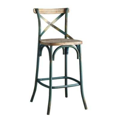 Modern Style Antique Sky Blue Wood and Metal with Panel Back Bar Height Chair