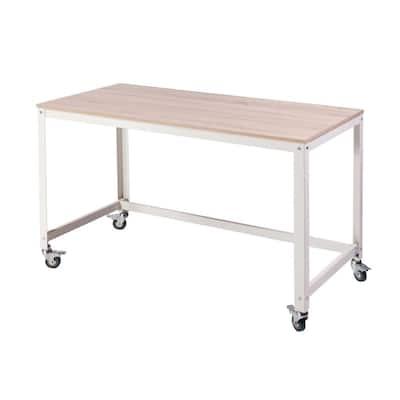 48 in. Rectangular Light Oak/White Writing Desk with Wheels