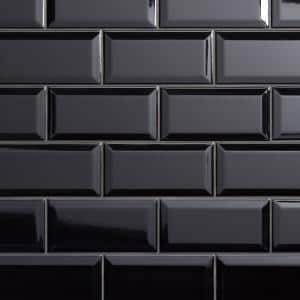 Crown Heights Beveled 3 in. x 6 in. Glossy Black Ceramic Wall Tile (6.03 sq. ft. /Case)
