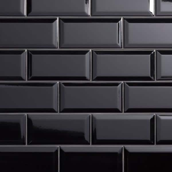 Merola Tile Crown Heights Beveled Glossy Black 3 In X 6 In Ceramic Wall Tile 170 Cases 1025 10 Sq Ft Pallet Web3chbgb The Home Depot