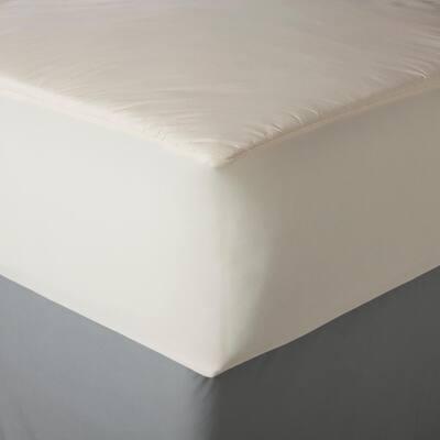 AllerEase Hot Water Washable Bedding Medium Deep Pocket Polyester Queen Mattress Pad