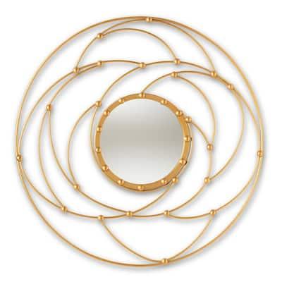 Medium Round Antique Gold Contemporary Mirror (37.5 in. H x 37.5 in. W)