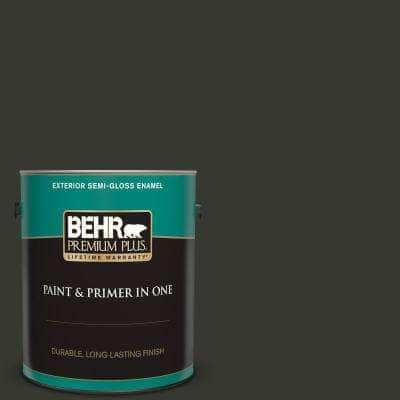 1 gal. #T13-3 Black Lacquer Semi-Gloss Enamel Exterior Paint and Primer in One