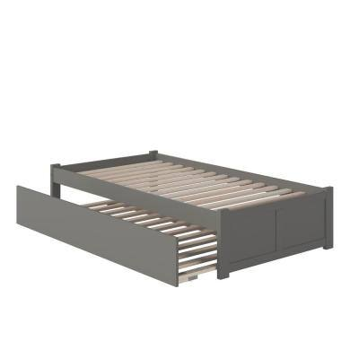 Concord Twin Extra Long Bed with Footboard and Twin Extra Long Trundle in Grey