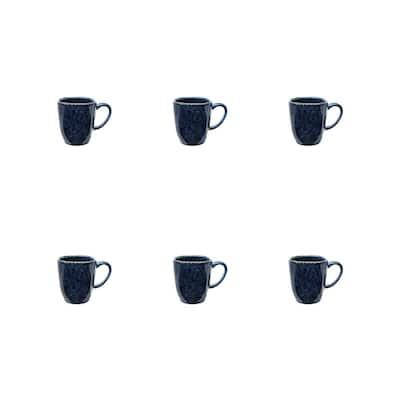 Ryo 14.20 oz. Dark Blue Porcelain Mugs (Set of 6)