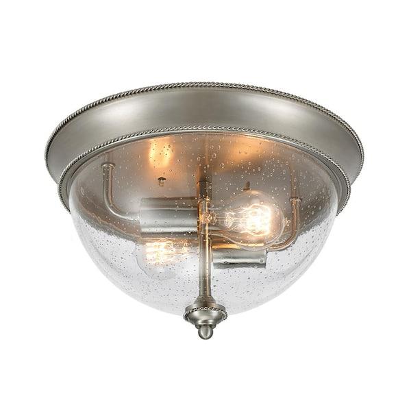 Hampton Bay 2 Light Brushed Nickel 13 In Flush Mount Ceiling Light 21093 001 The Home Depot