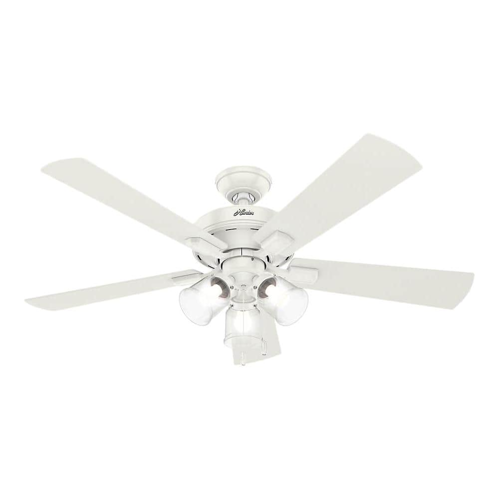 Hunter Crestfield 52 in. LED Indoor Fresh White Ceiling Fan with 3-Light Kit