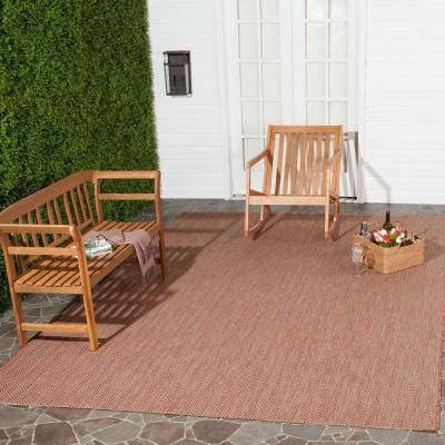 Courtyard Red/Beige 9 ft. x 12 ft. Geometric Indoor/Outdoor Area Rug