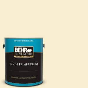 Behr Premium Plus 1 Gal 300a 1 Opal Cream Satin Enamel Exterior Paint And Primer In One 905001 The Home Depot