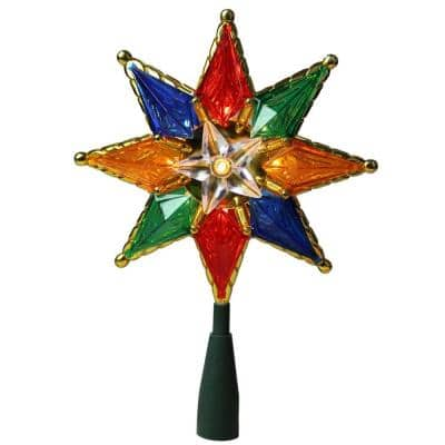 8 in. Multi-Color Mosaic 8-Point Star Christmas Tree Topper - Clear Lights