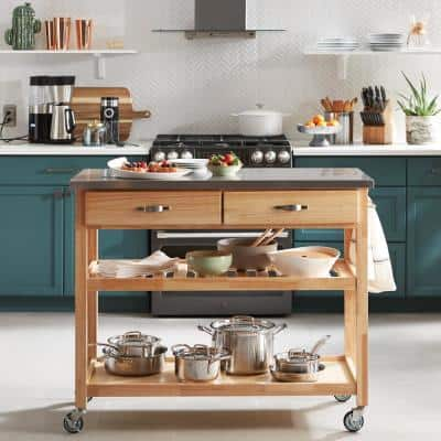 Vineyard Natural Kitchen Cart with Stainless Top