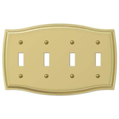 Vineyard 4 Gang Toggle Steel Wall Plate - Polished Brass