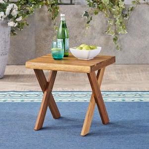 Eaglewood Teak Brown Square Wood Outdoor Side Table