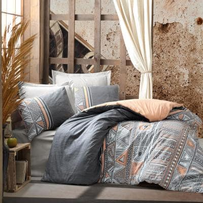 Aztec Gray Duvet Cover Set Queen Size Duvet Cover Cotton 1-Duvet Cover 1-Fitted Sheet and 2-Pillowcases