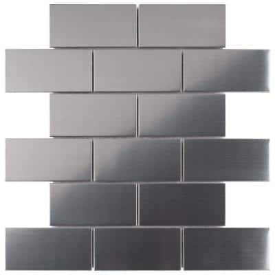 Meta Super Subway 10 in. x 11-3/4 in. x 8 mm Stainless Steel Metal Over Ceramic Mosaic Tile (0.82 sq. ft./Each)