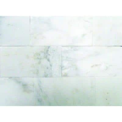 Take Home Tile Sample - Greecian White 4 in. x 4 in. Polished Marble Floor and Wall Tile (0.11 sq. ft.)