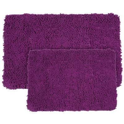 2-Piece Memory Foam Shag Bath Mat Set in Purple