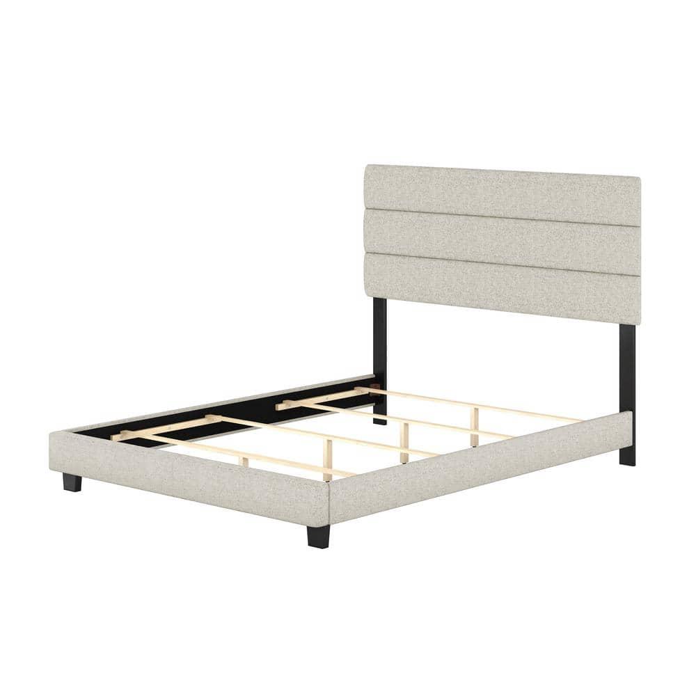 Rest Rite Vivian White Linen Queen Upholstered Platform Bed Frame Rvwh954qn The Home Depot