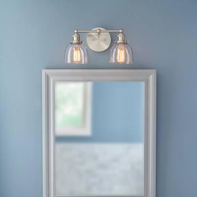 Evelyn 2-Light Brushed Nickel Vanity Light