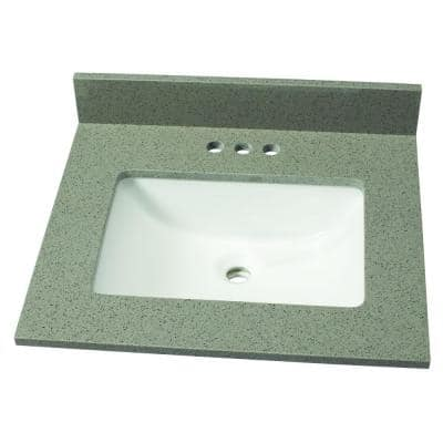 25 in. W Quartz Single Sink Vanity Top in London Fog with White Sink