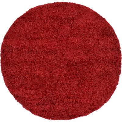 Solid Shag Cherry Red 6 ft. Round Area Rug