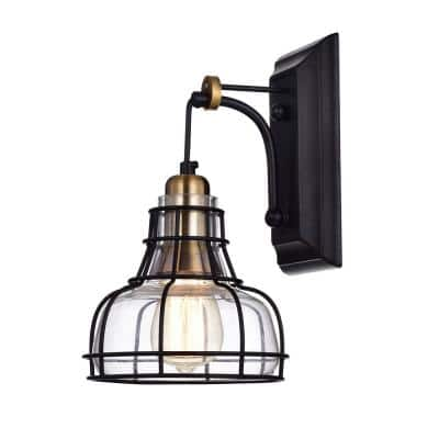 1-Light Black and Antique Gold Indoor Wall Sconce with Clear Glass