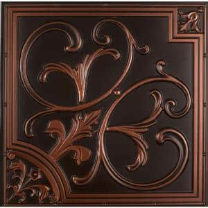 Lilies and Swirls 2 ft. x 2 ft. PVC Lay-in or Glue-up Ceiling Tile in Antique Copper (100 sq. ft. / case)
