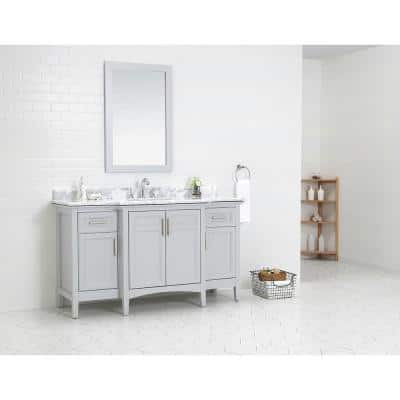 Sassy 60 in. W x 22 in. D Vanity in Dove Gray with Marble Vanity Top in White with White Sink