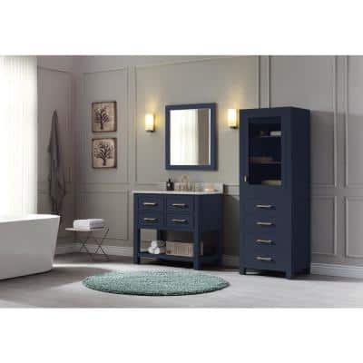 Brooks 37 in. W x 22 in. D x 35 in. H Bath Vanity in Navy Blue with Marble Vanity Top in White and White Basin