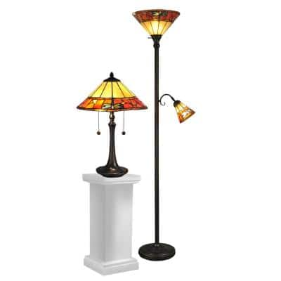 Genoa Dark Antique Bronze Metal and Resin Table/Floor Lamp Combo Set with Hand Rolled Art Glass Shade
