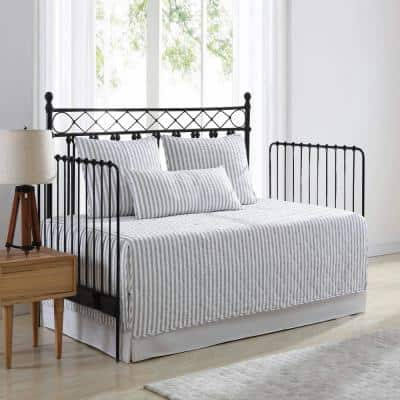 Willow Way Ticking Stripe 4-Piece Gray T136 Cotton Daybed Set