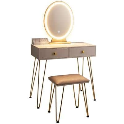 White Vanity Makeup Dressing Table Bench with 3 Lighting Modes