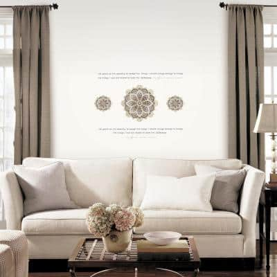 Multi-Shades Taupe Medallion Topography Serenity Prayer Peel and Stick Wall Decals (2-Sheets)