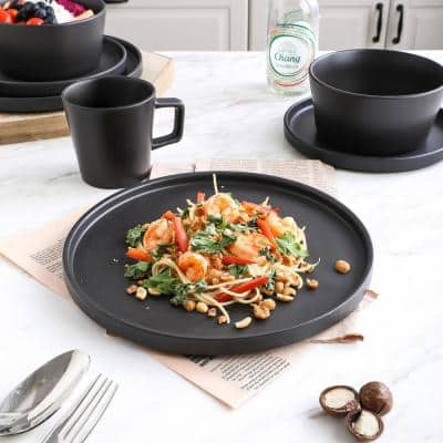16-Piece Modern Black Matte Stoneware Dinnerware Set (Set for 4)
