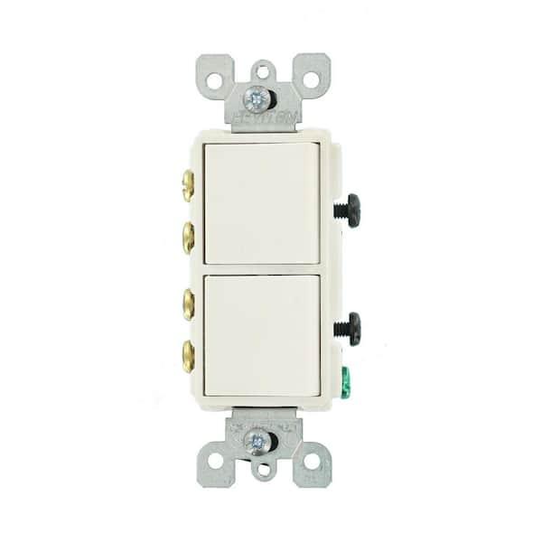 Leviton Decora 15 Amp 120 Volt 3 Way Combination Rocker Switch White R42 05643 0ws The Home Depot