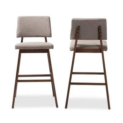 Colton 42 in. Light Gray and Walnut Bar Stool (Set of 2)