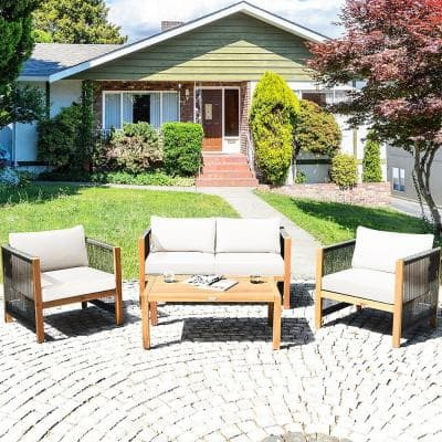 4-Piece Wood Outdoor Sectional Set with Cushionguard White Cushions