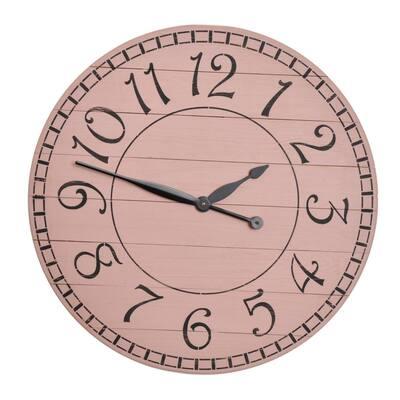 Distressed Farmhouse Pink Wall Clock