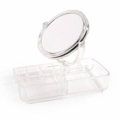 8-Compartments Acrylic Jewelry Organizer With Adjustable Mirror in Clear