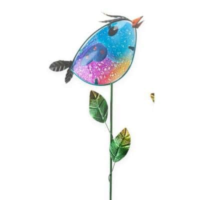 Blue Bird 35 in. Colorful Metal and Glass Garden Stake