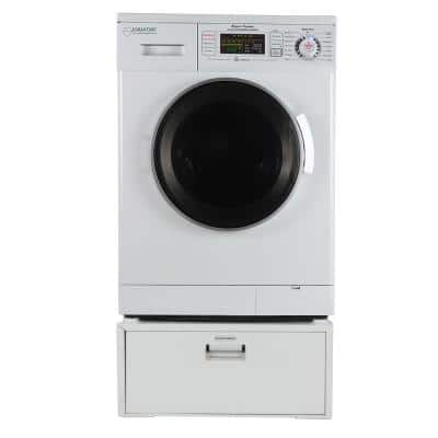 1.57 cu. ft. 23.5 in. White High -Efficiency Vented/Ventless Electric All-in-One Washer Dryer Combo with Pedestal